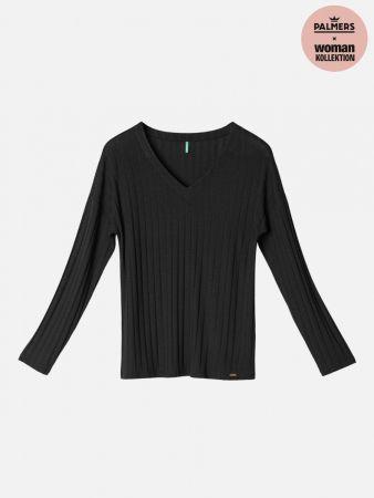 Rib Deluxe & Lace - Shirt - Schwarz