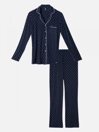 Cloud 7 Dot - Pyjama - Dunkelblau-Bunt