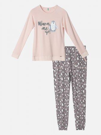 Snuggly Penguin - Pyjama - Rosa-Grau