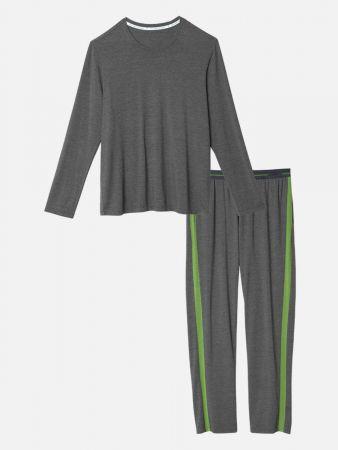 Retro Modal Night - Pyjamahose - Graumele