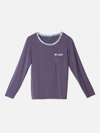 Leafy Nights - Nachtwäsche Shirt - Lila